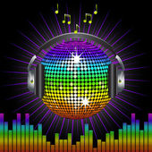Rainbow discoball and headphones — Stock Vector