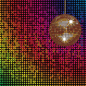Sparkling disco ball and colourful mosaic lights — Stock Vector