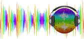 Spectrum sound waves and disco ball — Stock Vector