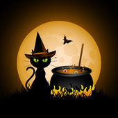 Witches cauldron and black cat — Stock Vector