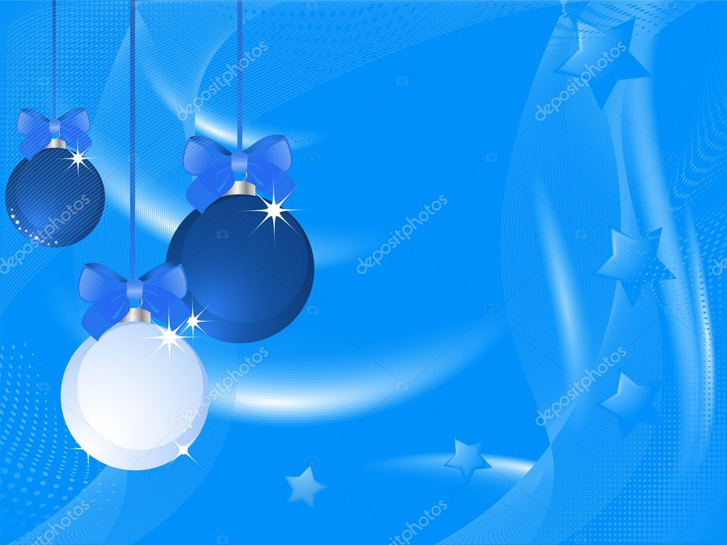 Blue Christmas baubles on a silky blended blue background with stars  Stock Vector #7921917