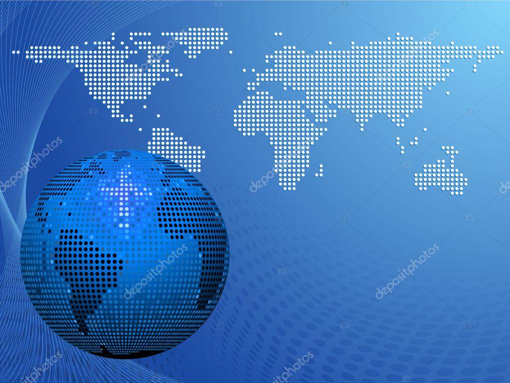 蓝色马赛克世界地球仪和地图