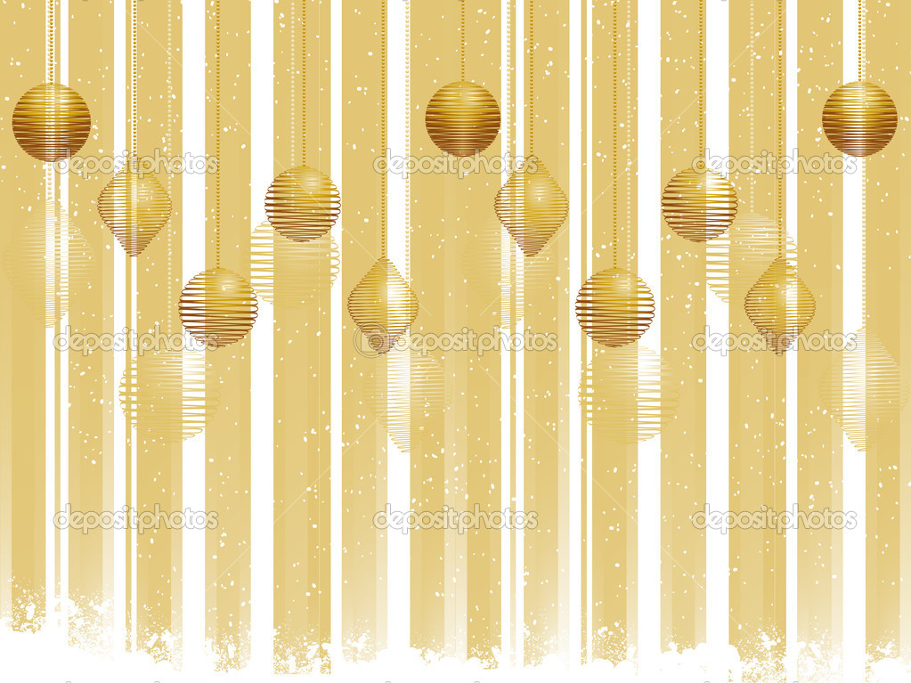 Christmas gold baubles on a striped gold background — Stock Vector #7927072