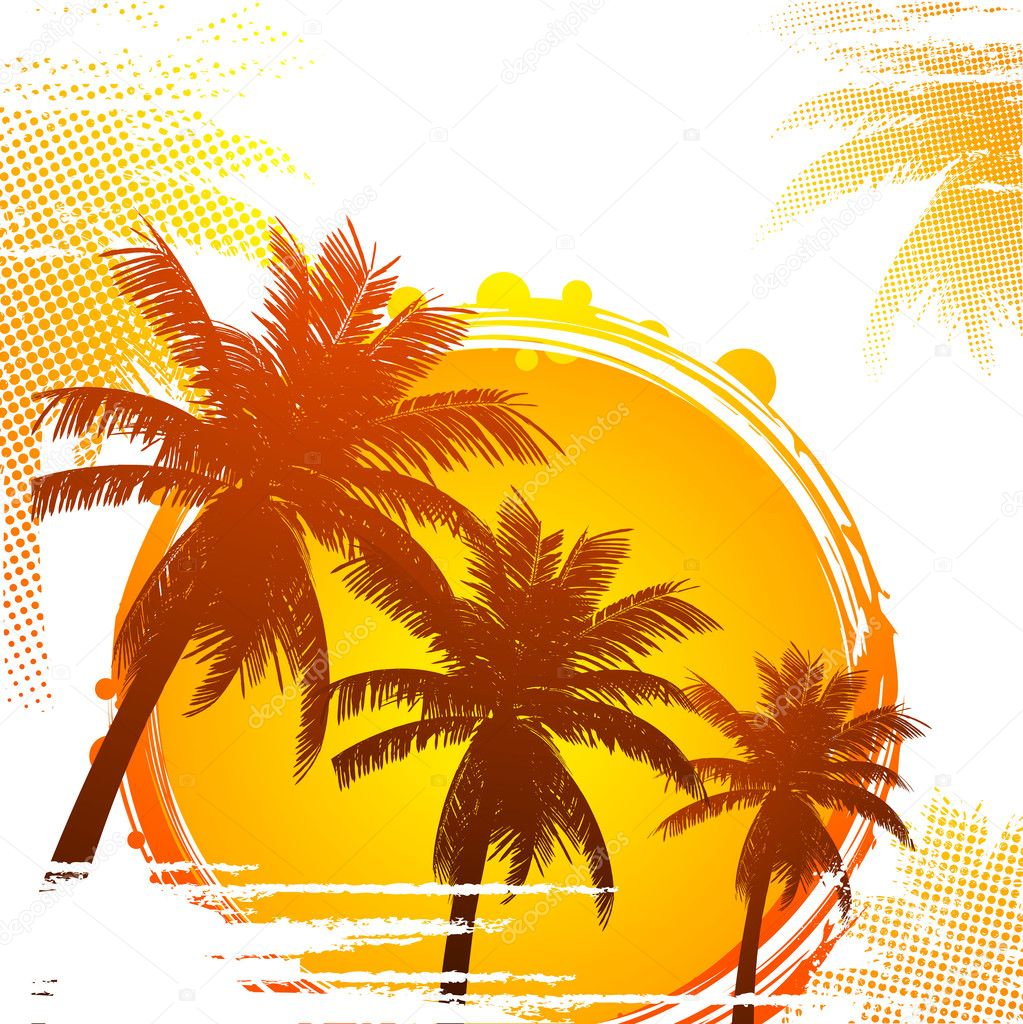 Tropical with distressed palm trees and abstract sun — Stock Vector #7927654