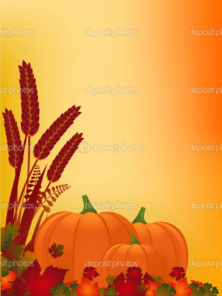 Autumn background with pumpkins leaves and corn — Stock Vector #7929044