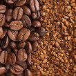 Royalty-Free Stock Photo: Instant coffee powder and coffee beans
