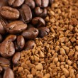 Instant coffee powder and coffee beans — Stock Photo