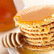 Waffle with honey - Stock Photo