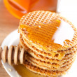 Waffle with honey — Stock Photo #6998879