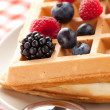 Tasty waffle with fruits — Stock Photo #6999432