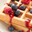 Tasty waffle with fruits — Stock Photo #6999444