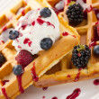 Tasty waffle with fruits — Stock Photo #6999448