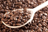 Coffee beans on wooden spoon — Stock Photo