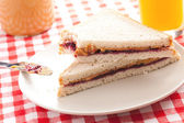 Peanut butter and jelly sandwich — Stock Photo