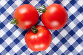 Red tomatoes on table — Stock Photo