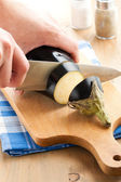 Cutting of eggplant — Stock Photo