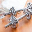 Chrome dumbells — Stock Photo