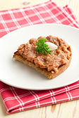 Roasted bread with steak tartare — Stock Photo