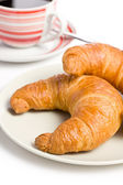 Fresh croissant with coffee — Stock Photo