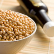 Stock Photo: Soy sauce and soy beans
