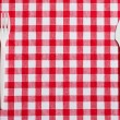 Stock Photo: Plastic cutlery on checkered tablecloth
