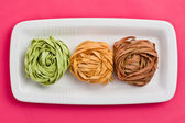 Colorful pasta tagliatelle — Stock Photo