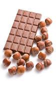 Chocolate with hazelnuts — Stock Photo