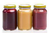 Baby food in glass jar — Foto Stock