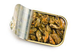 Smoked mussels in opened tin can — Stock Photo