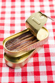 Anchovies fillets in tin can — Stock Photo