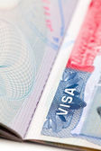Macro shot of a U.S. visa on passport page — Stock Photo