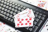 Online poker gambling — Stock Photo