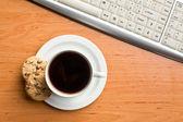 Breakfast in office — Stock Photo