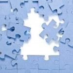 パズルのピースを白い背景の上 — ストック写真