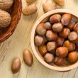Hazelnuts in bowl — Stock Photo