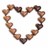 Chocolate heart on white — Stock Photo