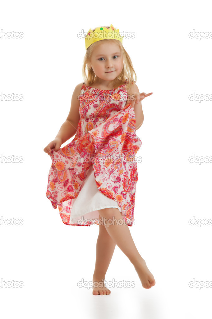 Studio shot of little princess dances — Stock Photo #7763916