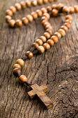 Wooden rosary beads — Stock Photo