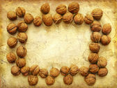Grunge frame with walnuts — Stock Photo