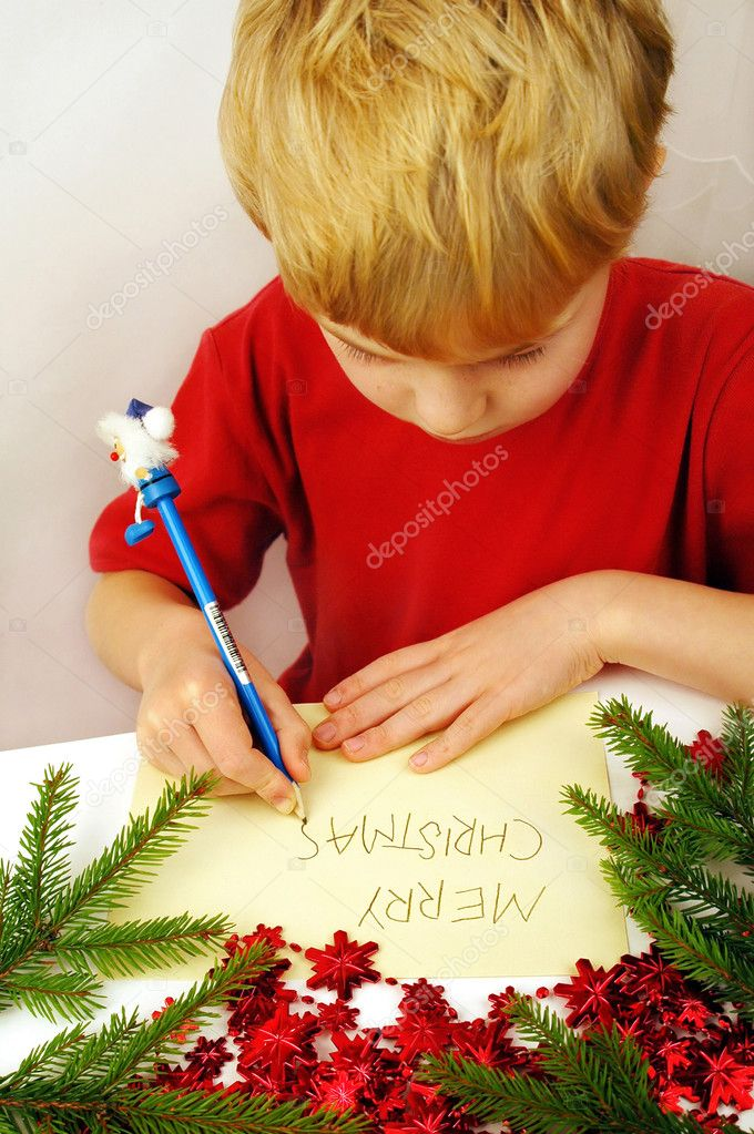 Christmas greetings, written by small boy. — Stock Photo #7669716