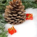 kar üzerinde döşeme koni ve hediye kutuları — Stockfoto