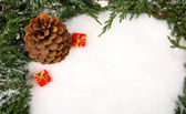 Pinecone and gift boxes laying on snow — Stock Photo