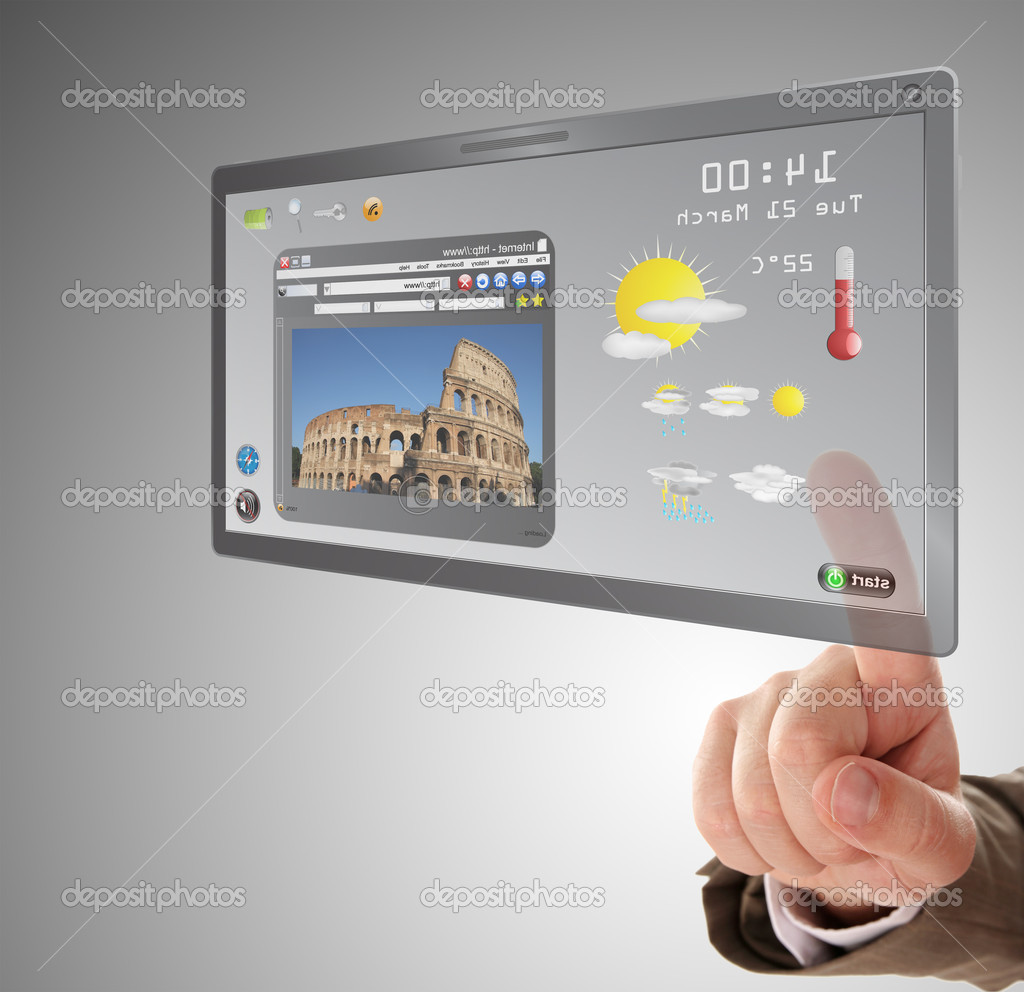 Male hand searching a information on touchscreen tablet — Stock Photo #7884100
