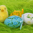 Little Yellow Easter Chick and Painted Colorful Easter Eggs — Stock Photo
