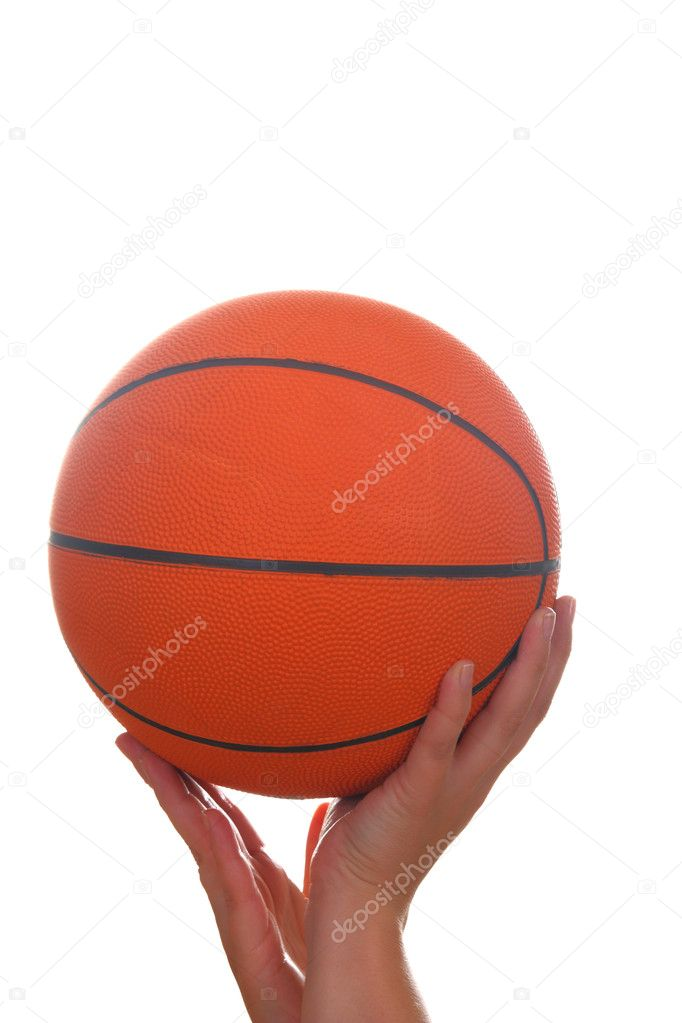 Hand and basketball ball isolated on white — Stock Photo #7892311