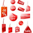 Red shopping tags — Stockfoto