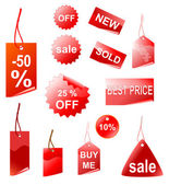 Rot shopping tags — Stockfoto