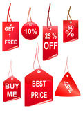 Set of red shopping tags — Stock Photo