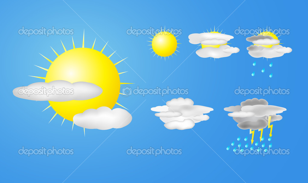 Vector illustration of weather icons — Stock Vector #7937580