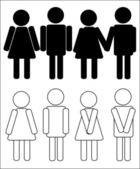 Silhouettes of man and woman — Stock Photo